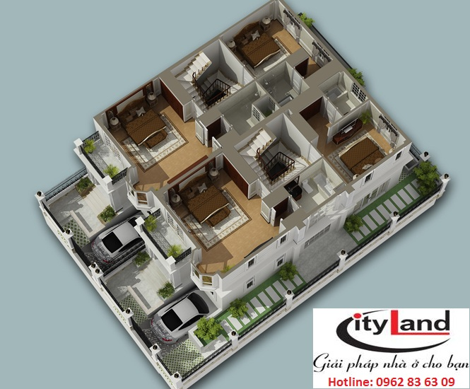 Mặt bằng tầng 1 nhà phố Cityland Garden Hills
