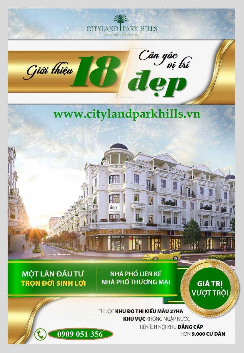 Cityland mở bán căn góc 2 mặt tiền nhà phố cityland park hills