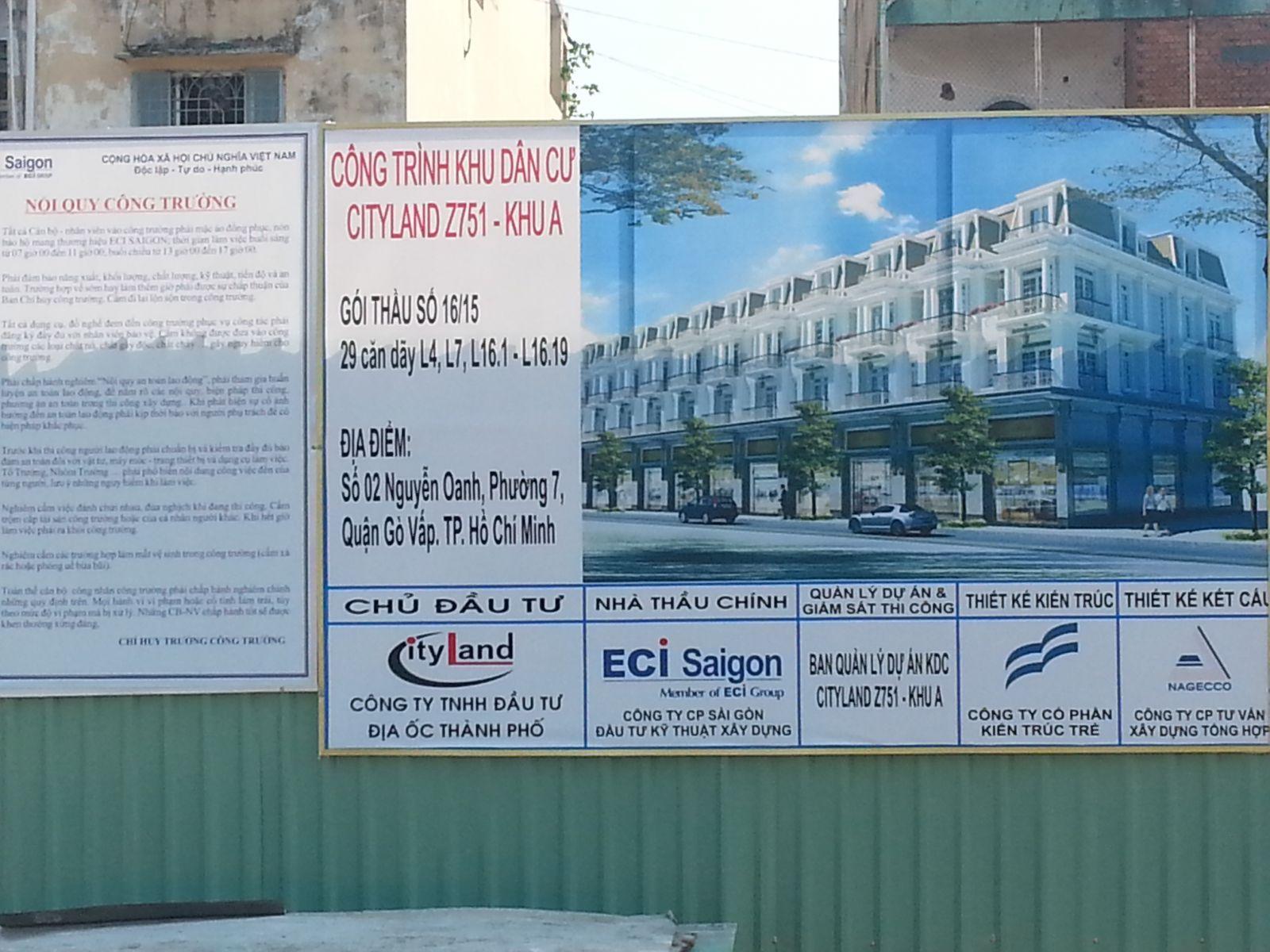 Bảng thông tin xây dựng dãy nhà Cityland Center Hills