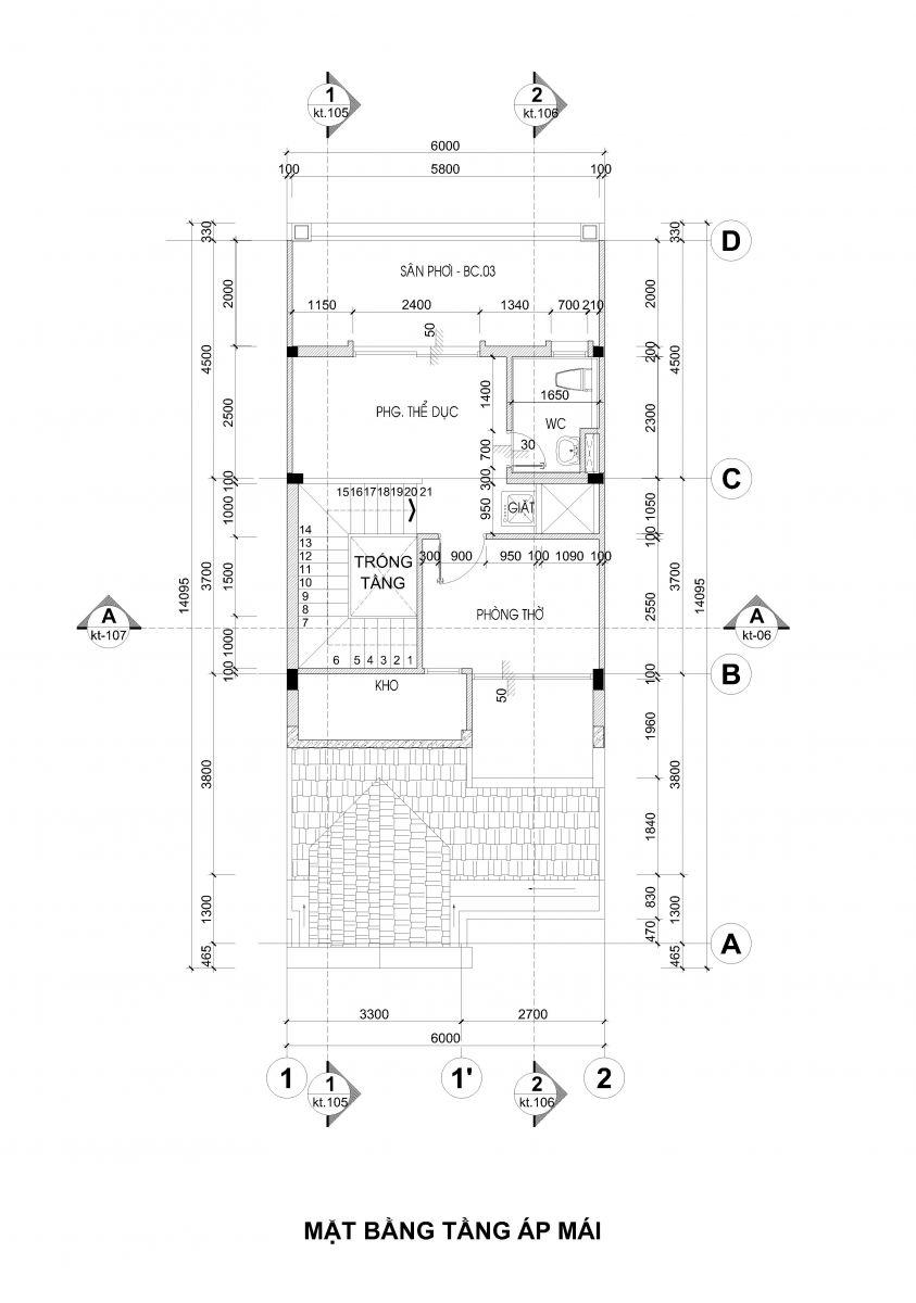 Thiết kế tầng ap mái garden hills